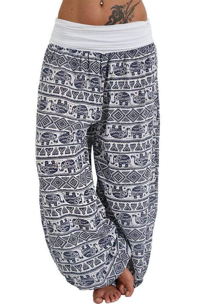 Plus Size Baggy High Waist Printed Long Pants 7 Colors