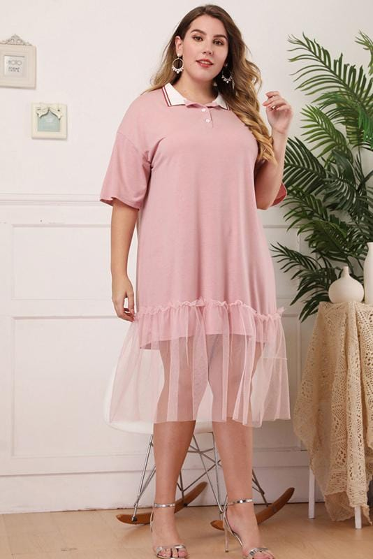 Mesh Design V-Neck Midi Dress Plus Size