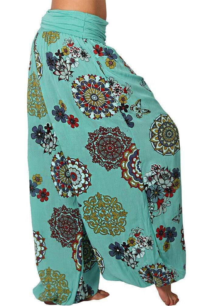 Plus Size Floral Print High Waist Printed Long Pants 7 Colors