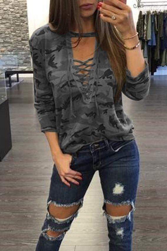 Camo Print Hollow Cut Neck Long Sleeves Tee 2 Colors