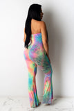Sexy Sleeveless Tie Dye Colorful Long Jumpsuit