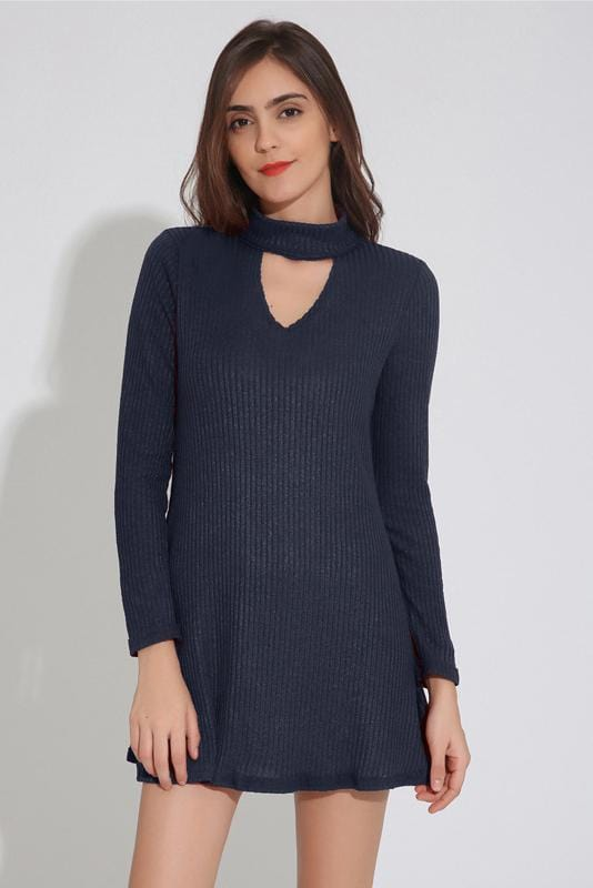 Choker Neck Long Sleeve Sweater Dress