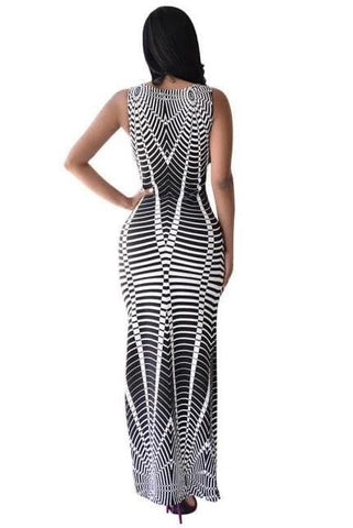 Irregular Stripes Sexy Maxi Dress