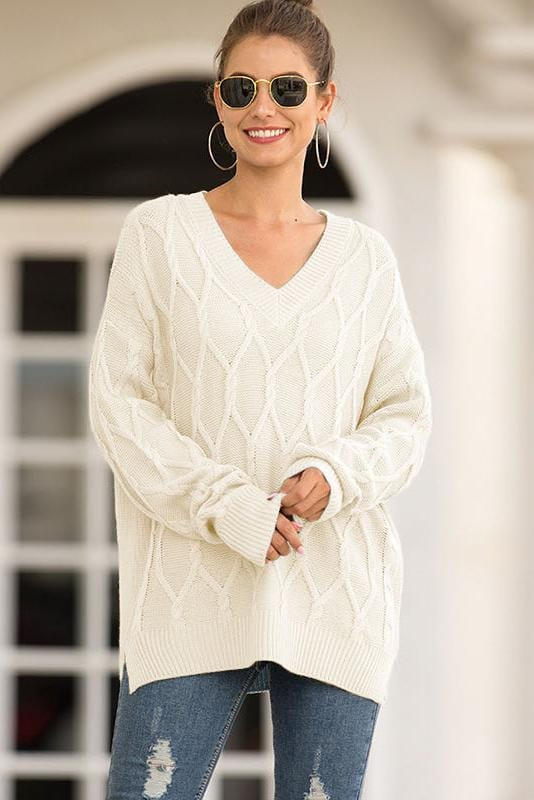 V-Neck Long Sleeve Cable Casual Sweater