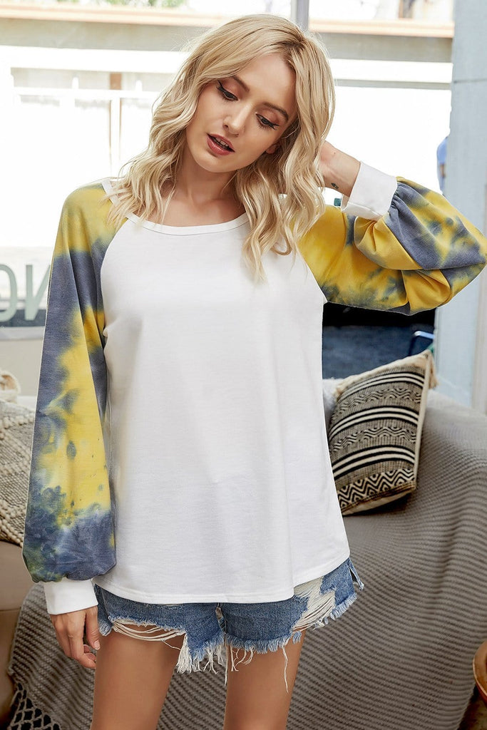 Tie Dye Crew Neck Long Sleeve Casual T-Shirt