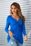 Blue Insert Twisted Knot Design V-neck Long Sleeves Top