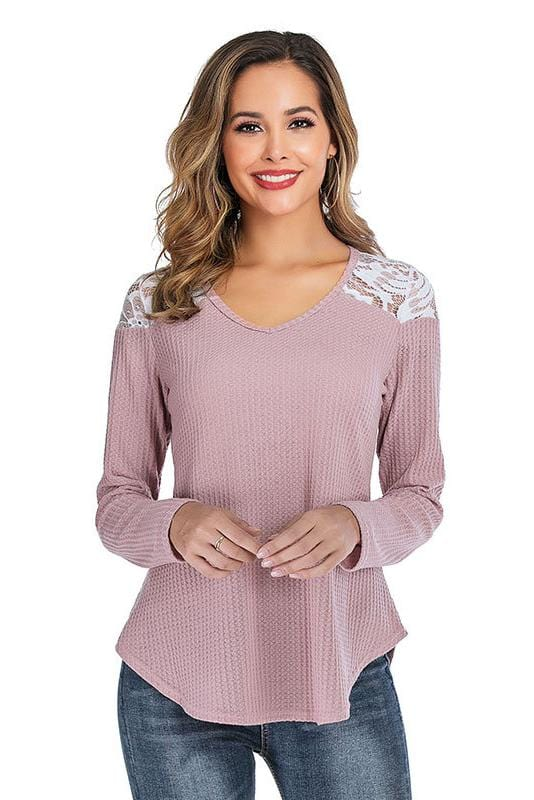 Lace Shoulder Long Sleeve Tee 4 Colors