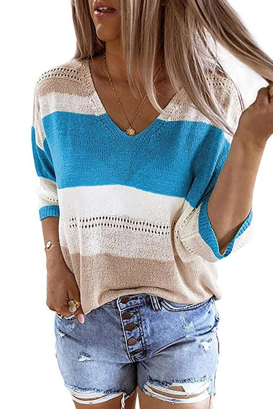 V-Neck Stripe Design Mid-Length Sleeve Sweater 3 Colors