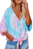 Tie Dye V-Neck Casual Blouse 4 Colors
