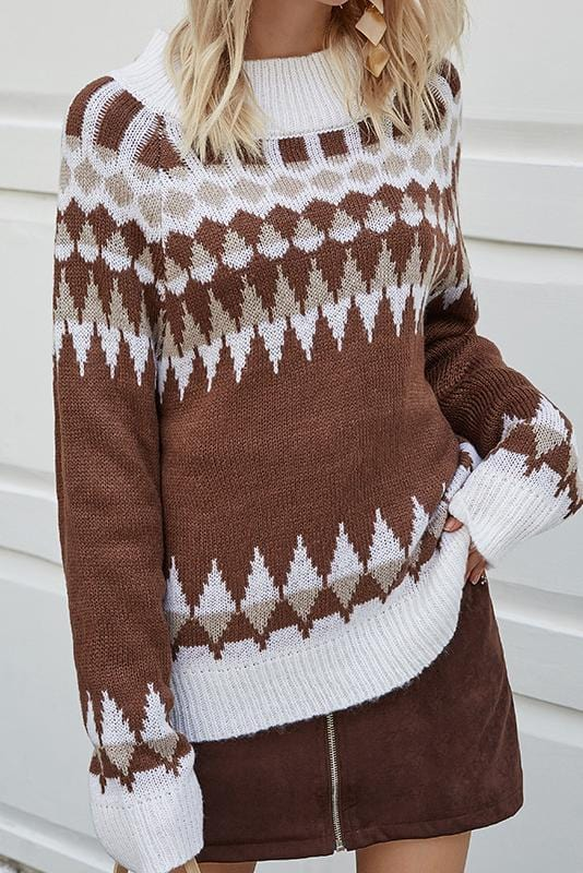 Vintage Design Long Sleeve Casual Sweater