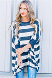 Stripe Print Casual Long Tee 2 Colors