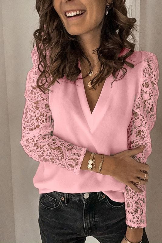 Lace Sleeve V-Neck Casual Shirt