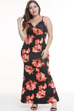 Sleeveless Floral Print Plus Size Dress