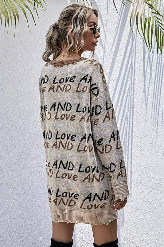 Sexy V-Neck Letter Printed Long Sleeves Sweater