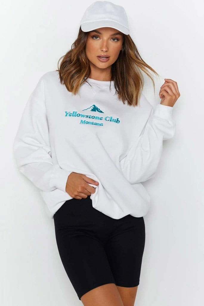 White Design Crew Neck Crop Sweatshirt
