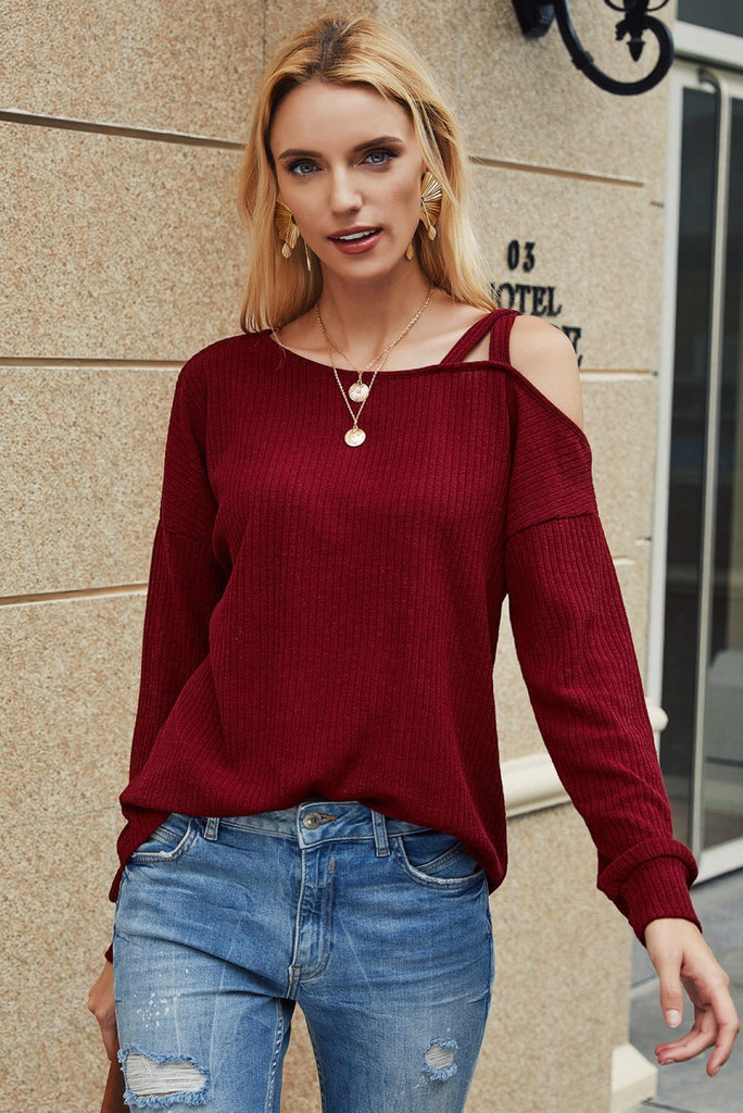 Fashion One Shoulder Long Sleeve Casual Sweater