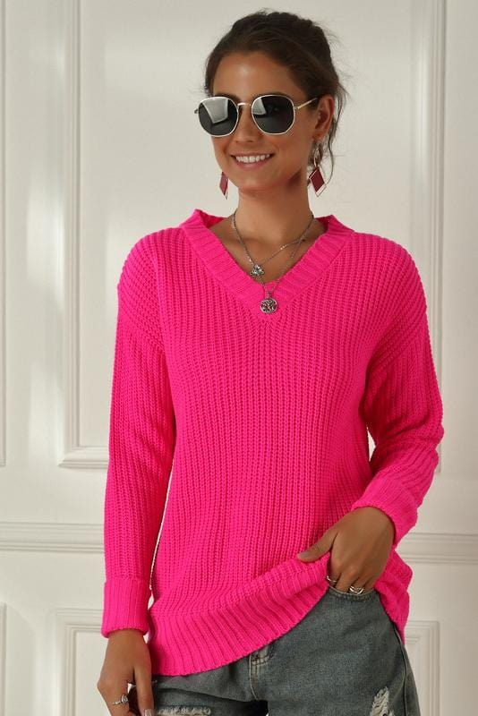 Neon Color V-Neck Long Sleeve Casual Sweater