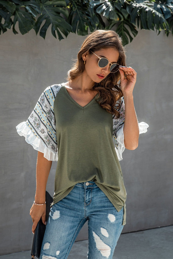 V-Neck Printed Sleeve Casual T-Shirt