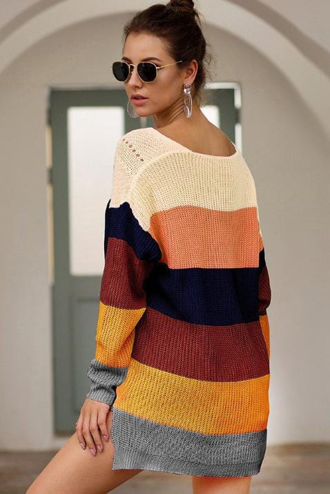 V-Neck Long Sleeve Colorful Stripe Sweater 3 Colors