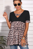 Leopard Design Criss-cross V-neck Short Sleeves Tee