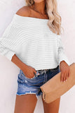 Off-Shoulder Long Sleeves Casual Sweater 4 Colors