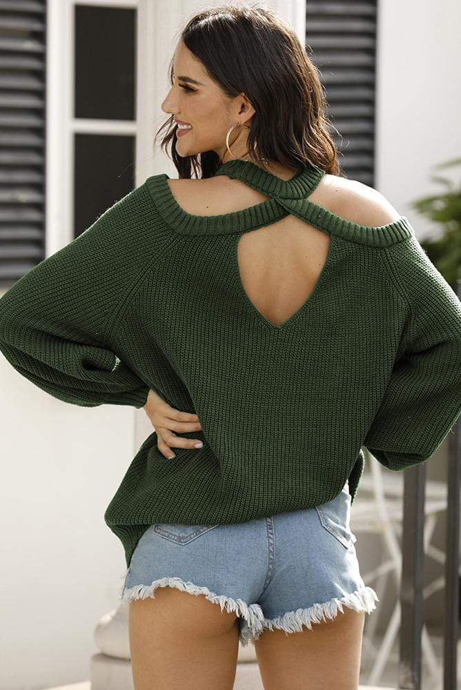 Hollow Out Back Long Sleeves Sweater 4 Colors