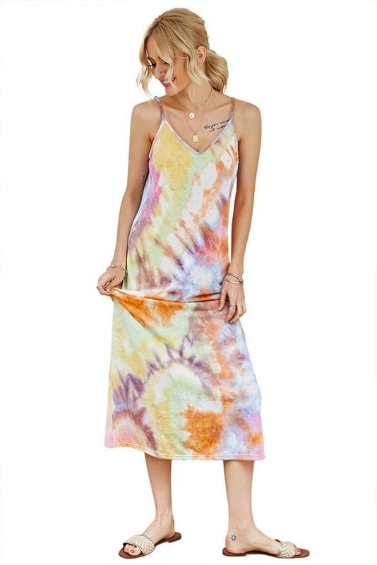 Off-Shoulder V-neck Tie-dye Summer Dresses