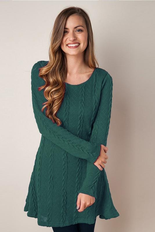 Plus Size Long Sleeve Sweater Dress 5 Colors