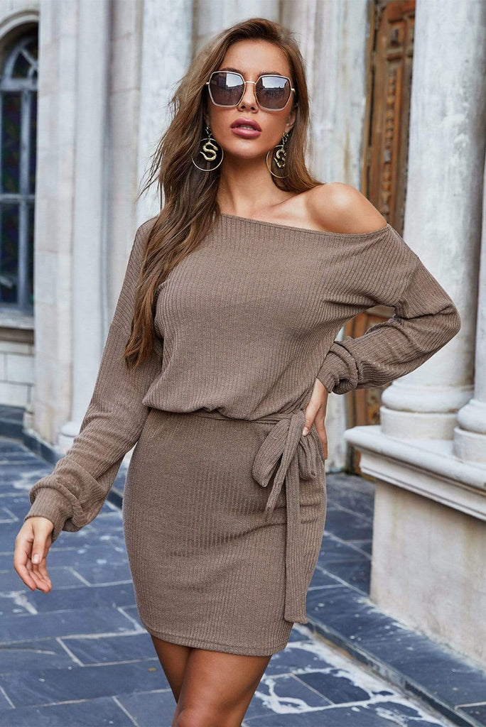 One Shoulder Long Sleeves Casual Dress 2 Colors