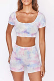 Tie Dye Square Neck Yoga Sports Set