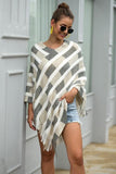 Stripe Details Shawl Cloak Knit Top 4 Colors