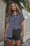 Fashion Stripe Print Casual Loose Shirt