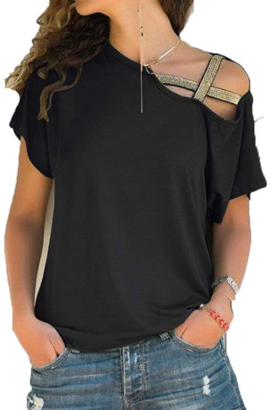 Plus Size Casual Cut Out Cold Shoulder Long sleeves Tee 7 Colors