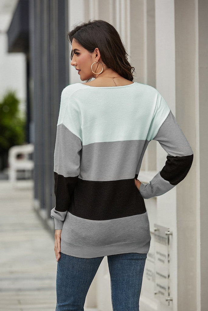 V-Neck One Shoulder Stripe Casual Sweater