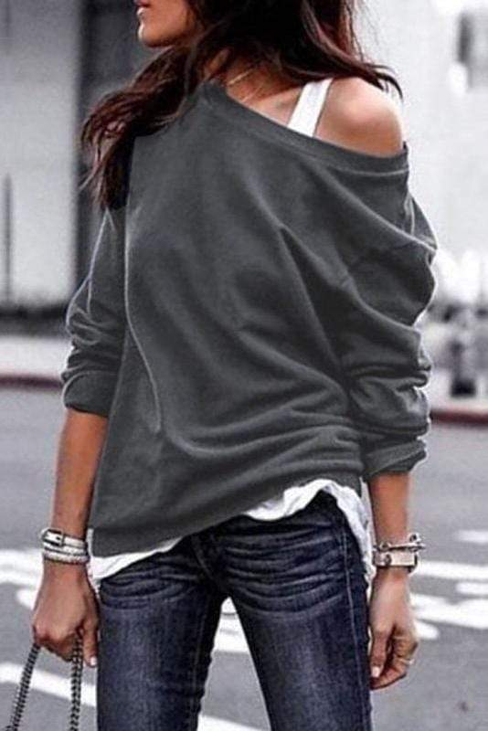 Plus Size One Shoulder Long Sleeves Casual Tee