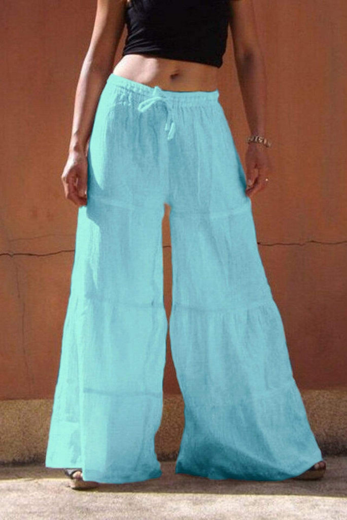 Plus Size High Waist Casual Wide Leg Long Palazzo Pants 5 Colors