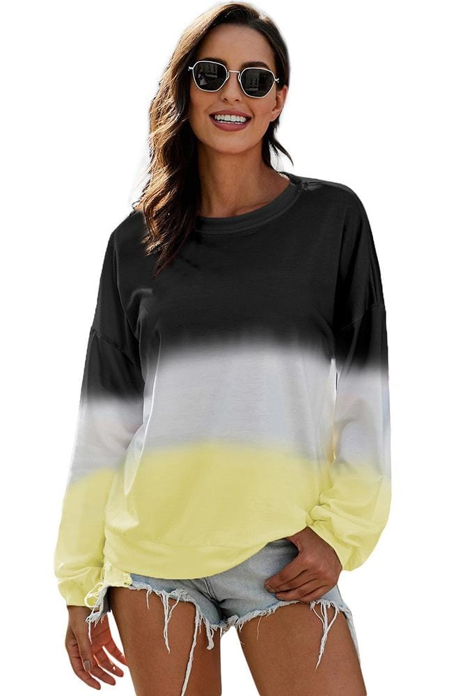 Long Sleeve Gradient Design Casual Sweatshirt