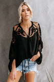 Fashion Lace Shoulder Plain Loose Shirt Plus Size