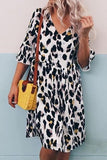 Women Fashion V Neck Leopard Print Mid-length Dress