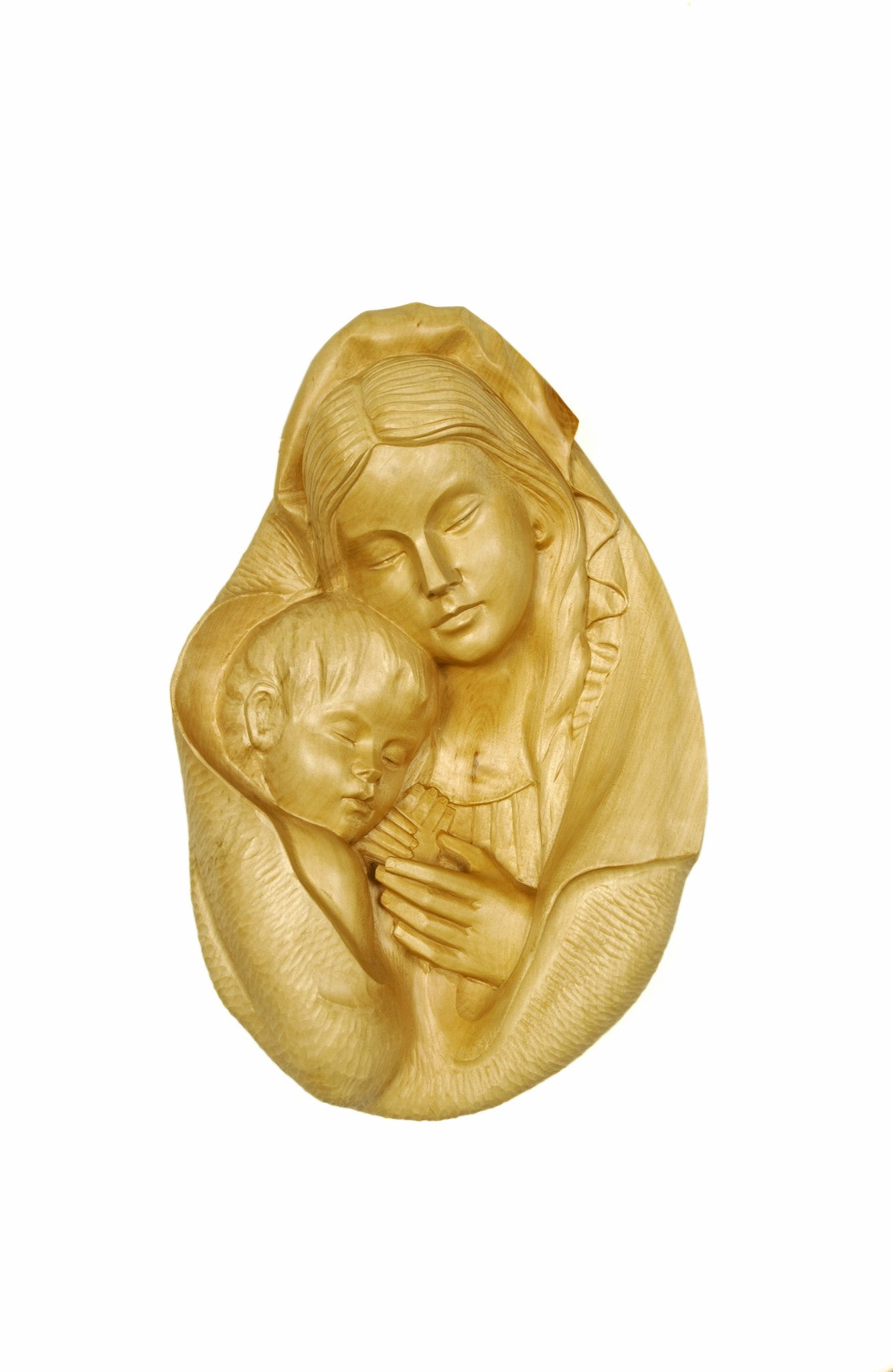 Mary with Child Jesus Wood Carving