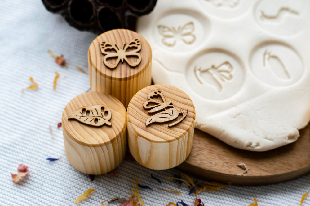 Wooden Butterfly Lifecycle Playdough Stamps