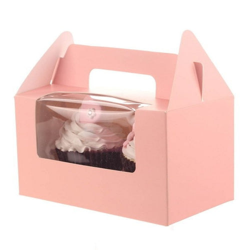 Cupcake box with handle pink
