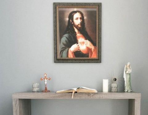 Home altar with image of Jesus
