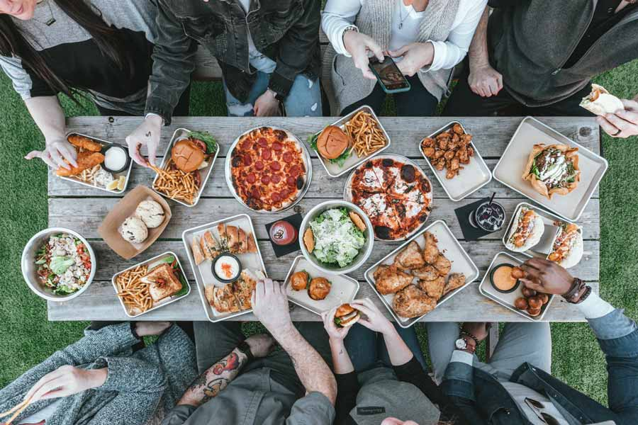 A group of people gathered around a shared meal