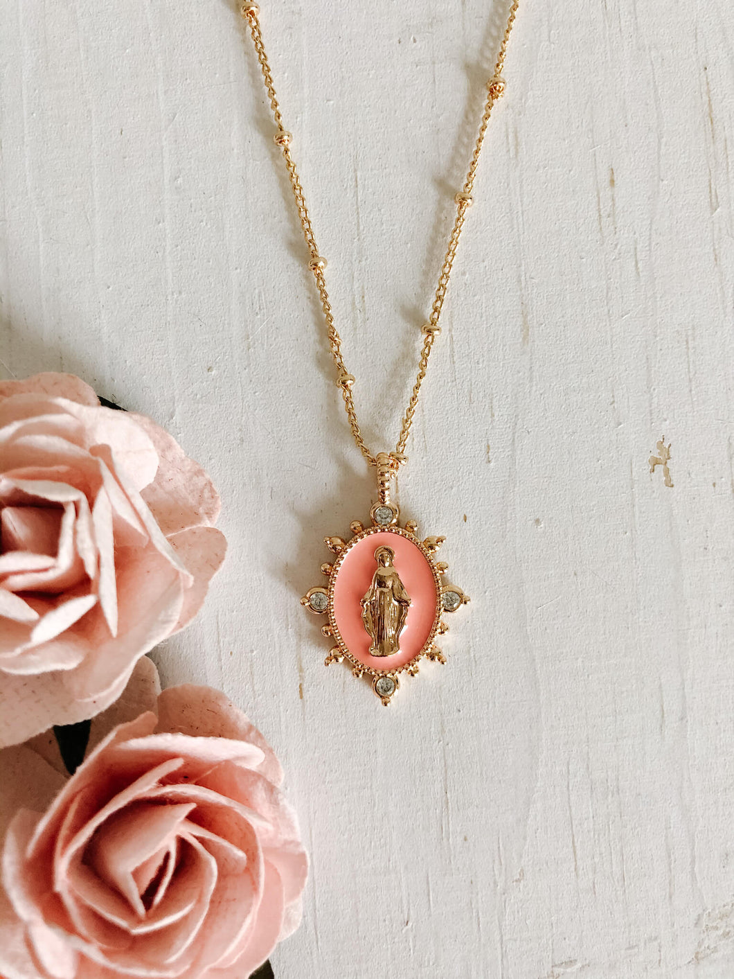 Lady Lourdes Necklace- Salmon
