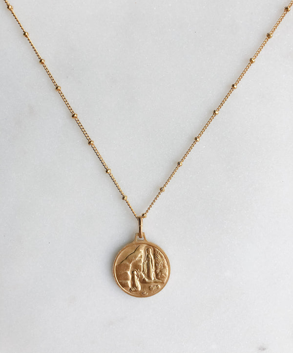 Mary Praying Necklace - White