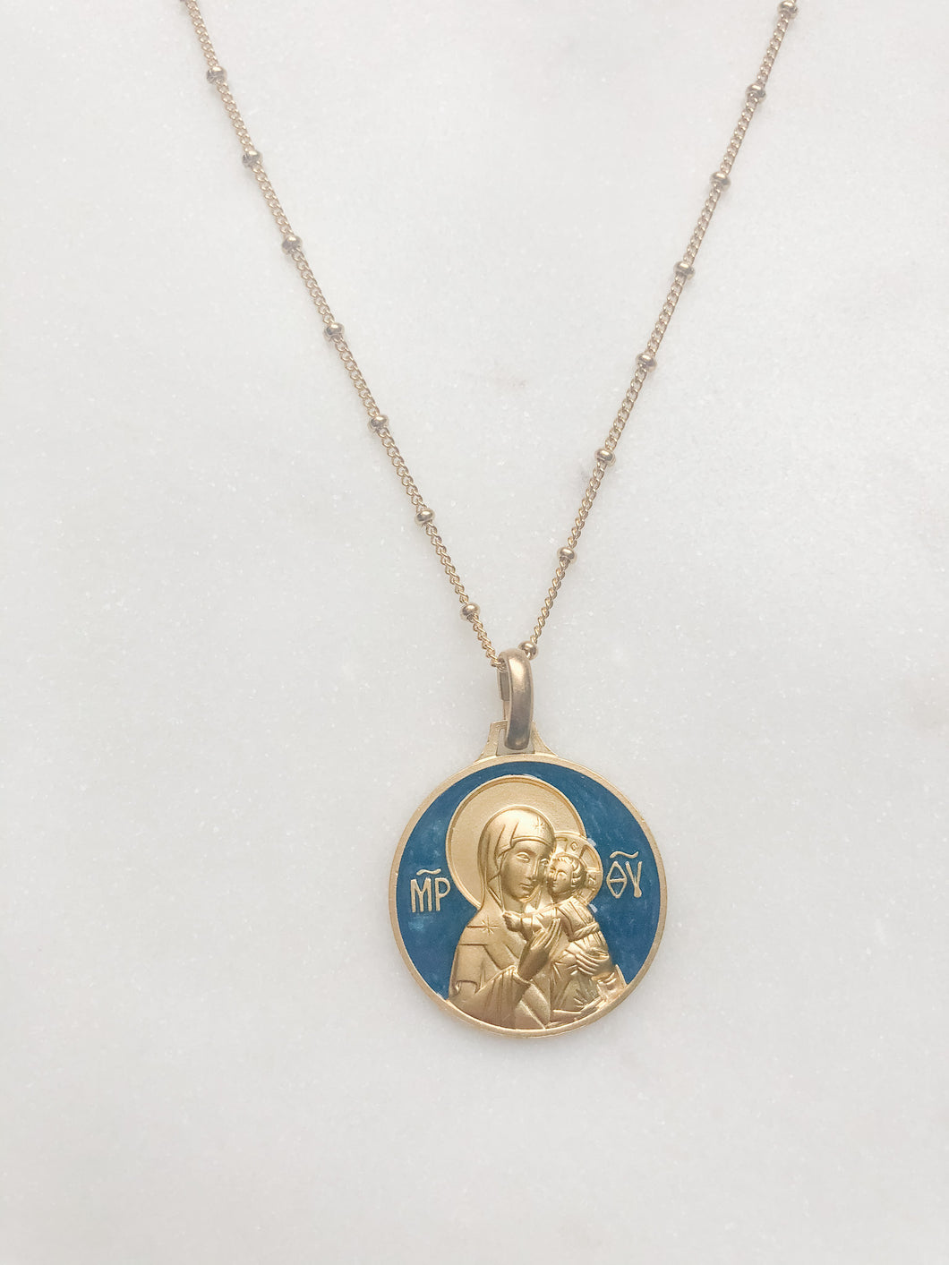 Virgin of Tenderness Necklace - Blue