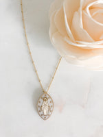 Oval Miraculous Medal Necklace - White