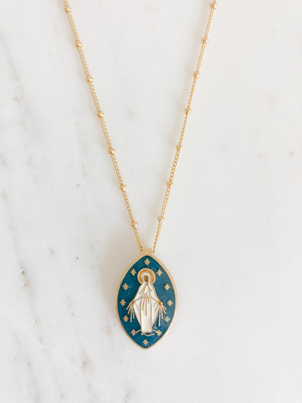 Oval Miraculous Medal Necklace - Dark Blue
