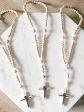 Load image into Gallery viewer, Made of white cord and light wooden beads and a light wood Crucifix